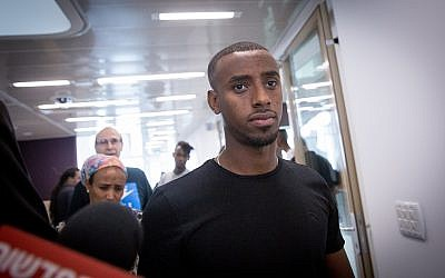Israeli Premier League soccer player Itzhak Asefa, seen during a hearing at the Tel Aviv District Court, October 24, 2018. (Miriam Alster/Flash90)