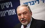 Defense Minister Avigdor Liberman leads a faction meeting of his Yisrael Beytenu party in the Knesset, October 29, 2018. (Miriam Alster/Flash90)