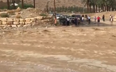 Flooding in southern Israel due to heavy rains on October 25, 2018. (Screen capture: Twitter)