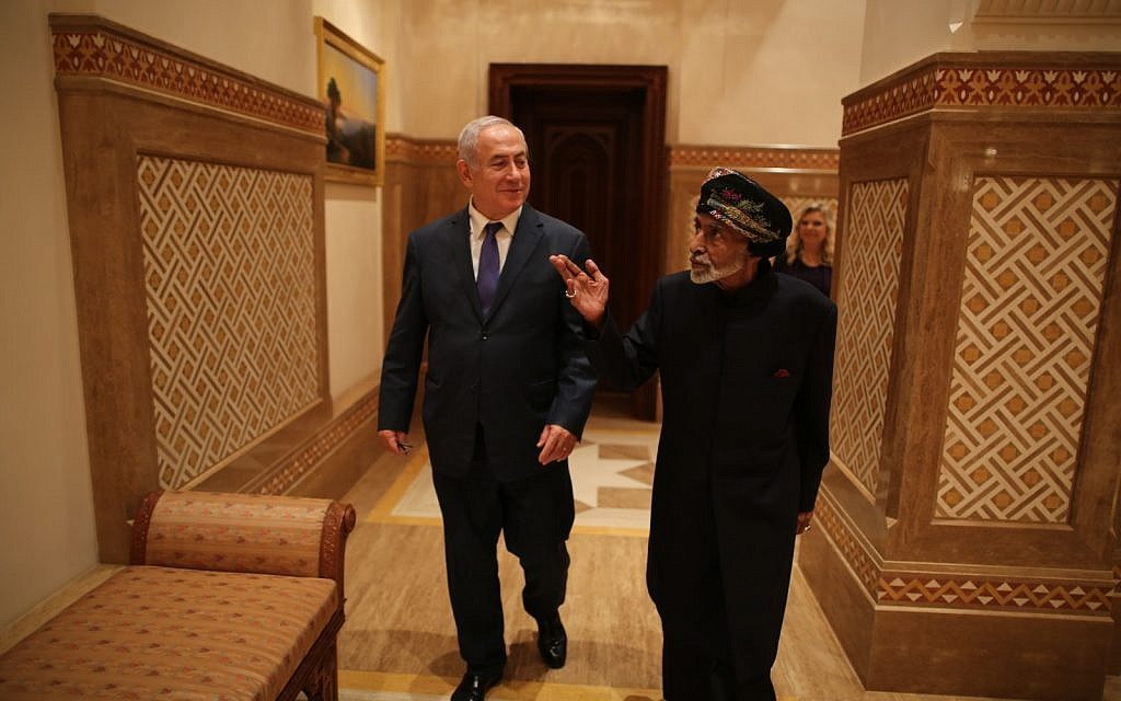 Prime Minister Benjamin Netanyahu (left) with Sultan Qaboos bin Said of Oman in the Gulf state on October 26, 2018 (Courtesy)