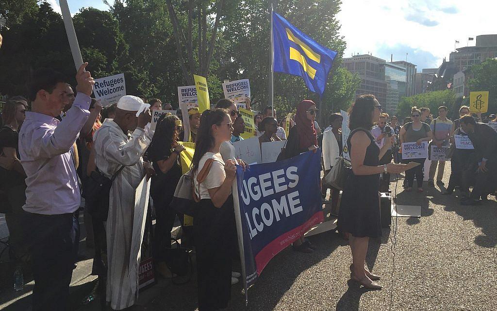 Melanie Nezer speaking at a rally in Washington, DC in June 2017. (Courtesy)