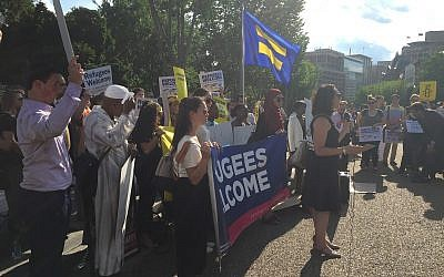 Melanie Nezer speaking at a rally in Washington, DC in June 2017.  (Courtesy)