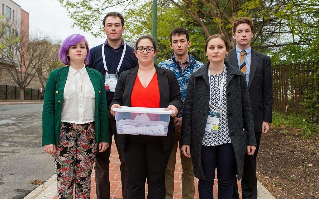 At J Street's 2017 national conference, a group including Matan Arad-Neeman marched to the Israeli Embassy to drop off letters from hundreds of students calling for Israel to cancel the demolitions of Susya and Khan al-Ahmar. (Courtesy)