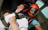 Walter Bingham prepares to skydive over northern Israel. (via UK Jewish News)