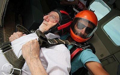 Walter Bingham prepares to skydive over northern Israel. (via UK Jewish News)