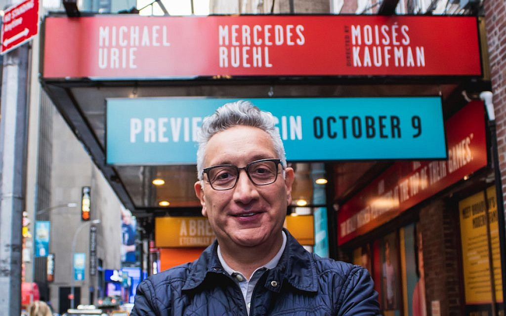Kaufman in front of the Hayes Theater in New York City, where the play he's directing will debut on November 1. (Courtesy of Torch Song on Broadway/via JTA)