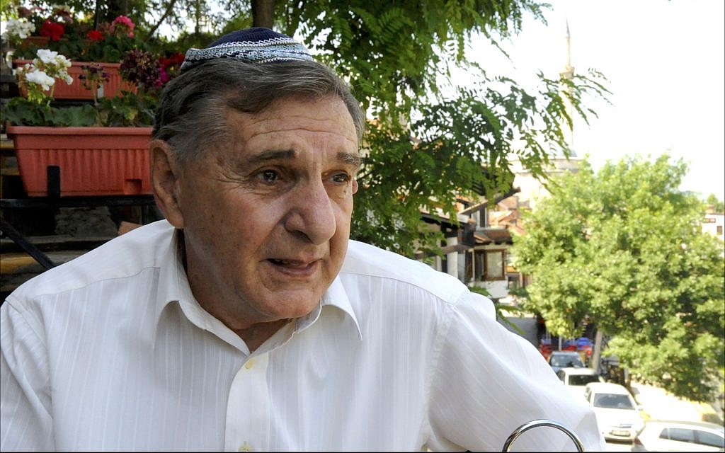 Votim Demiri, 72, is the patriarch of Kosovo's 56-member Jewish community. (Larry Luxner/ Times of Israel)