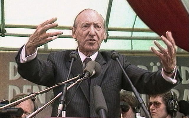 "Kurt Waldheim in a still from Ruth Beckermann's film ""The Waldheim Waltz."" (Courtesy of Ruth Beckermann via JTA)"