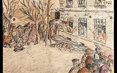 Helga Weissova, 'Odchazejici Transport/ Transport leaving Terezin,' 1943. Watercolor and ink on paper. People walk past the Hamburg barracks to the train that will deliver them to Auschwitz. Others witness their deportation — and say goodbye. (Courtesy Museum of Jewish Heritage)