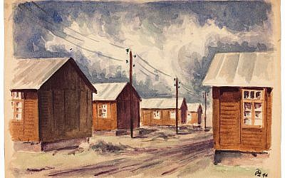 Peter Loewenstein, 'South Barracks,' 1944, watercolor on paper, signed and dated on the bottom right: 'PL 44.' (Gift of Gerda and Herman Korngold/ Courtesy Museum of Jewish Heritage)