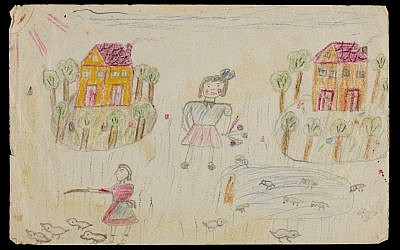In July 1942, Gita Hojtasova (10 years old), Zuzana (7 years old), and their mother Gertrude were deported from their native Prague to the Terezin concentration camp/ghetto. They were liberated in 1945. Drawings in colored pencil, often on rag paper, show Zuzana's expression of the complicated childhood that she endured in Terezin. (Courtesy Museum of Jewish Heritage)