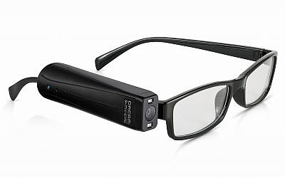 The OrCam MyEye device fitted onto a pair of glasses (OrCam)