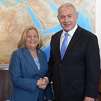 Rep. Ileana Ros-Lehtinen meets with Israeli Prime Minister Benjamin Netanyahu in Jerusalem, Oct. 22, 2018. (Amos Ben-Gershom/Israeli Government Press Office)
