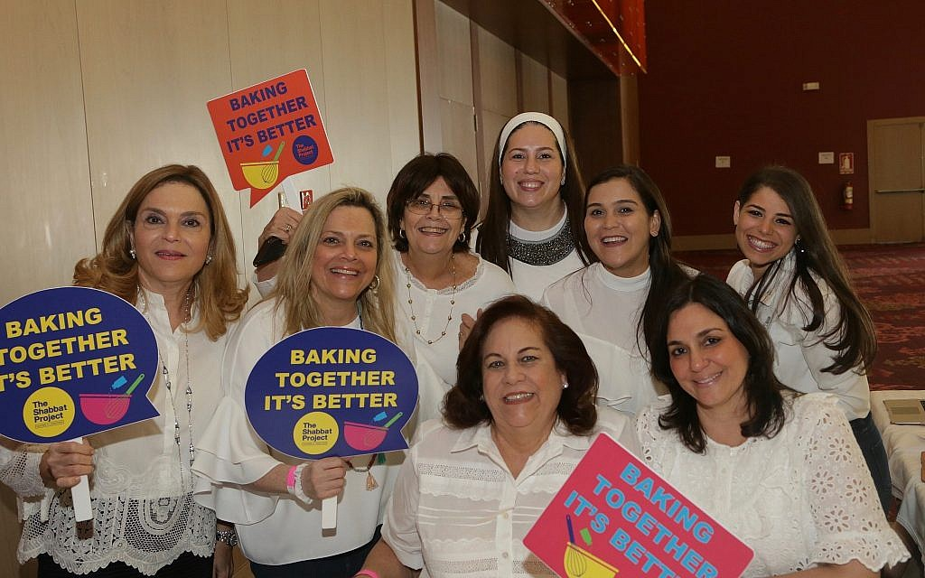 Ahead of this year's Shabbat Project, women from Panama's Jewish community tout the Pink Challah Bake. (Courtesy)