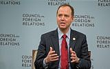 Rep. Adam Schiff, D-California, speaks at the Council on Foreign Relations with Andrea Mitchell of NBC News in Washington, DC, February 16, 2018. (Tasos Katopodis/Getty Images/via JTA)