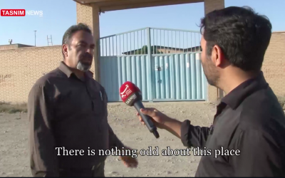 A local businessman speaks to Tasnim news reporter near an alleged secret Iranian nuclear site in the Turquzabad district of Tehran on September 30, 2018. (screen capture: Tasnim)