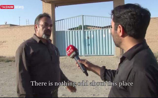 A local businessman speaks to Tasnim news reporter near an alleged secret Iranian nuclear site in the Turquzabad district of Tehran on September 30, 2018. (screen capture: Tasnim)