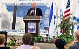 US Ambassador to Israel David Friedman speaks at an event organized by the Judea and Samaria Chamber of Commerce in the northern West Bank city-settlement of Ariel on October 16, 2018. (Matty Stern/US Embassy)
