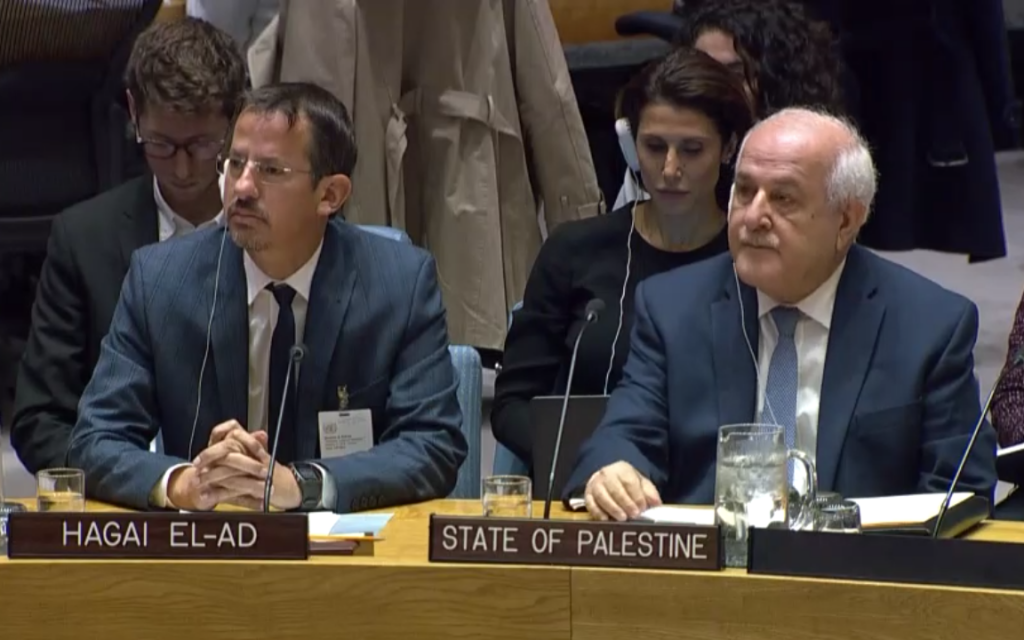 B'Tselem Executive Director Hagai El-Ad left next to Palestinian Ambassador to the UN Riyad Mansour at a session of the UN Security Council