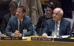 B'Tselem Executive Director Hagai El-Ad, left, next to Palestinian Ambassador to the UN Riyad Mansour, at a session of the UN Security Council, October 18, 2018. (Courtesy UN WebTv)
