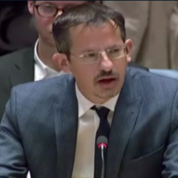 B'Tselem Executive Director Hagai El-Ad speaks to the UN Security Council on October 18 (Hadashot TV screenshot)