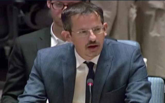 B'Tselem Executive Director Hagai El-Ad speaks to the UN Security Council on October 18 (Hadashot TV screenshot)