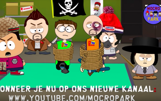 A screenshot of the Dutch animated show 'Mocro Park' that aired on a state-funded broadcaster in October 2018. (screen capture: YouTube)