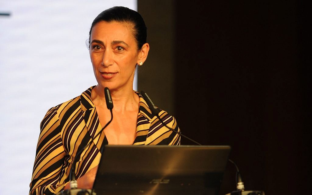 Dr. Sharon Nazarian, the Anti-Defamation League's Senior Vice President for International Affairs, at the Israel Social Cohesion Summit, October 16, 2018. (Sharon Amit)