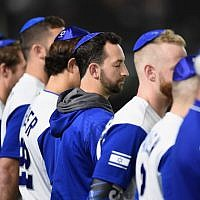 Illustrative: Israel players line up for the national anthem prior to the World Baseball Classic Pool E Game Three between Netherlands and Israel at the Tokyo Dome on March 13, 2017 in Tokyo, Japan (Matt Roberts/Getty Images/JTA)
