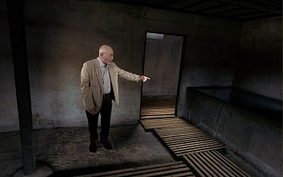 Pinchas Gutter tours the concentration camp where his parents and twin sister were murdered during World War II in this screenshot from 'The Last Goodbye.' (Courtesy Museum of Jewish Heritage)