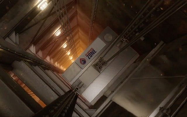 Salamandra Zone's B-Air unit fits on top of elevators and purifies air during emergencies. (YouTube screenshot)