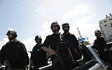Illustrative: Hamas security forces in Gaza City, April 4, 2013. (Wissam Nassar/Flash90/File)