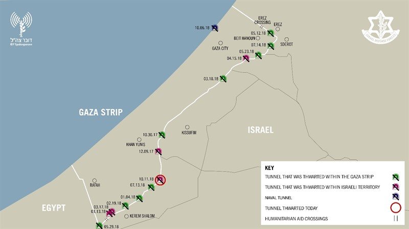 A map showing the approximate locations of 15 tunnels destroyed by Israel since October 2017