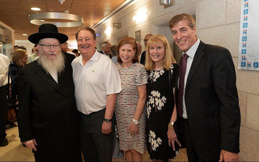Deputy Health Minister Yaakov Litzman, left, with Howard Milstein, Abby Milstein, Ellen Hershkin, and Prof. Chaim Lotan, Friday, October 12, 2018. (Courtesy)