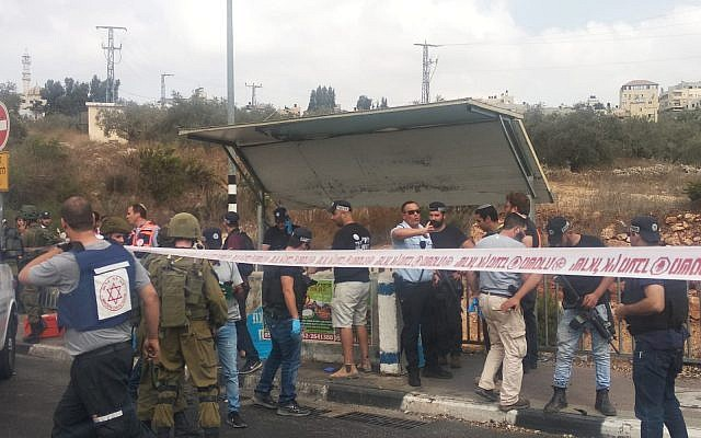 The scene of an attempted stabbing attack at Gitai Junction, West Bank, October 15, 2018 (Samaria Regional Council)