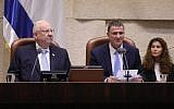 President Reuven Rivlin (L) and Knesset speaker Yuli Edelstein at the opening of the Knesset winter sitting, October 15, 2018. (Knesset)