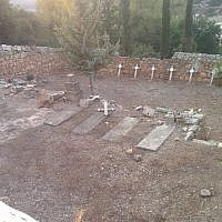 Vandalism discovered at a Christian cemetery outside Beit Jamal Monastery on October 17, 2018. (Tag Meir)