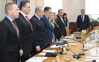The Israeli cabinet holds a minute of silence to honor the victims of the deadly October 27, 2018, shooting at the Tree of Life synagogue in Pittsburgh, Pennsylvania, on October 28, 2018. (Amos Ben Gershom/GPO)