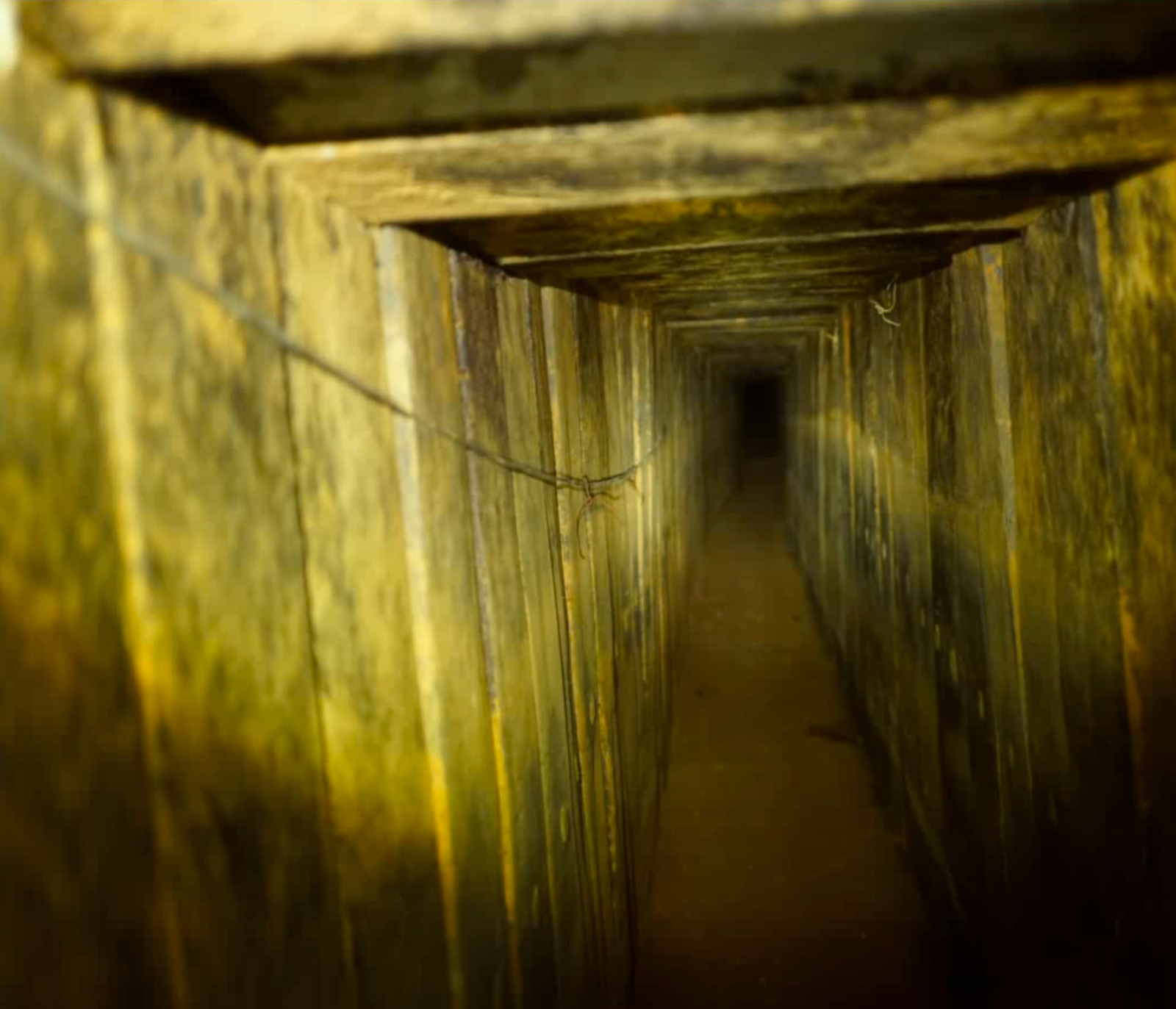 The interior of a Hamas attack tunnel that penetrated Israeli territory and was destroyed by the Israeli military