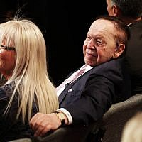Sheldon and Miriam Adelson at the third presidential debate between Donald Trump and Hillary Clinton at the Thomas & Mack Center in Las Vegas, October 19, 2016. (Chip Somodevilla/Getty Images/via JTA)