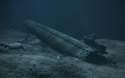A model of sunken Nazi sub U-864 (YouTube screenshot)