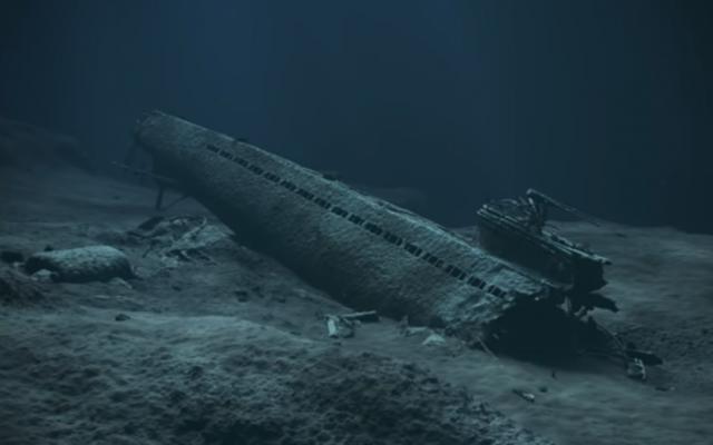 A model of sunken Nazi sub U-864 (YouTube screenshot)
