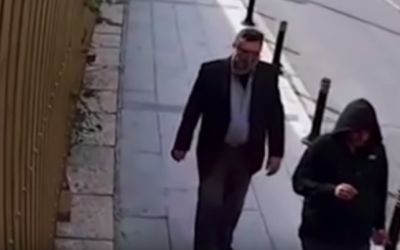 Security camera footage aired by CNN shows a man dressed in Jamal Khashoggi's clothes after his killing inside the Saudi consulate in Istanbul (CNN screenshot)