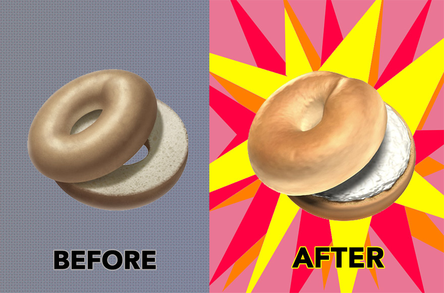 Emojipedia/Twitter via CNN Apple changed its bagel emoji design