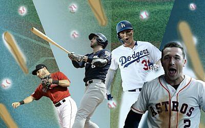 Illustrative collage of American Jewish baseball players, from left, Ian Kinsler, Ryan Braun, Joc Pederson and Alex Bregman. (Lior Zaltzman/Getty Images/via JTA)