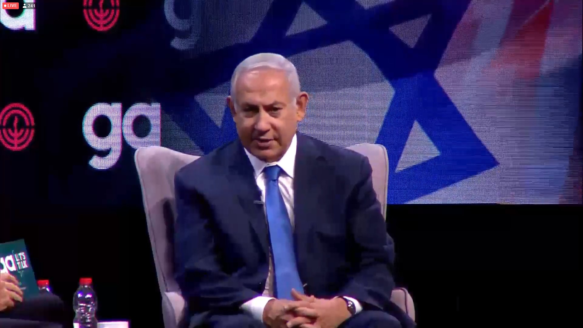 Prime Minister Benjamin Netanyahu speaks to the Jewish Federations&#039 General Assembly in Tel Aviv