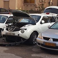 A car belonging to an Israel Prisons Service officer which was damaged by a bomb, October 8, 2018. (Israel Prisons Service)