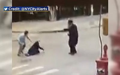 A still image from surveillance video showing the brutal assault on an ultra-Orthodox Jewish man in Brooklyn, New York on October 14, 2018. (screen capture: CBS New York)