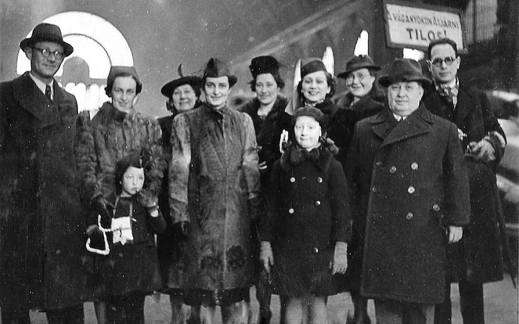 A Jewish family reunited in Budapest in 1943 following the arrival there of family members from Holland. (Courtesy of Willy Lindwer/via JTA)