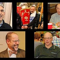 Some of the victims of the Pittsburgh synagogue massacre, October 27, 2018. Top row, from left to right: Cecil Rosenthal, Richard Gottfried, Melvin Wax. Bottom row: Dr. Jerry Rabinowitz, Danny Stein. (Courtesy of David DeFelice via AP,  Barry Werber via AP, Avishai Ostrin)